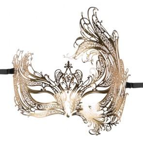 Maschera veneziana in metallo dorato