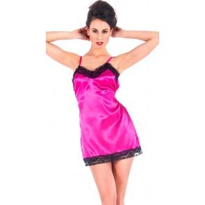 Mini abito intimo in raso rosa con pizzo - davanti