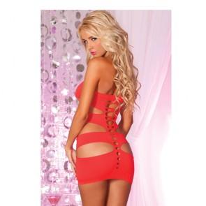 Mini abito rosso con aperture sexy Noctural
