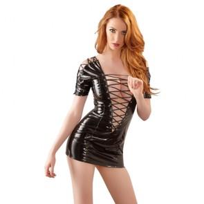 Mini dress in vinile nero con allacciatura