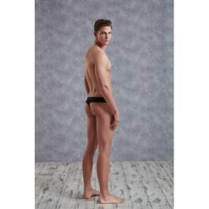 Perizoma uomo in maglia trasparente - nero