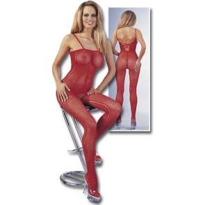 Sexy catsuit rossa aperta al cavallo