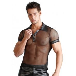 Sexy polo uomo trasparente in rete