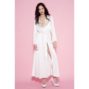 Sexy vestaglia lunga in raso bianco