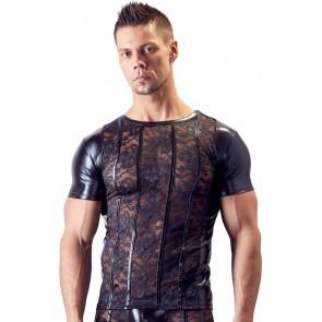 Shirt uomo in pizzo floreale nero e Wetlook