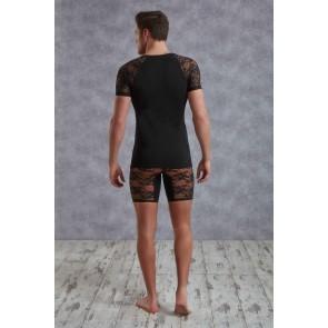 T-shirt uomo in cotone e pizzo nero