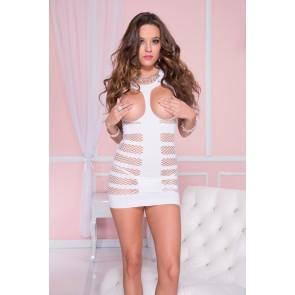 Vestito bianco con coppe aperte