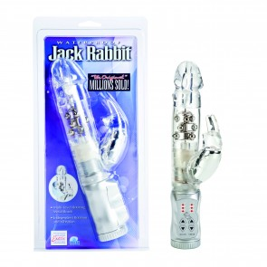 Vibratore rabbit con perle Waterproof Jack Rabbit trasparente