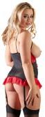 Body nero con frange rosse e coppe aperte