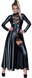 Sexy cappotto lungo nero wetlook